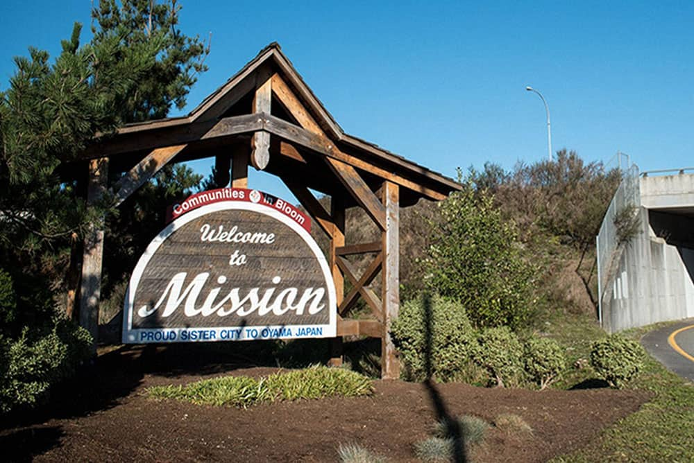 Mission city welcome sign